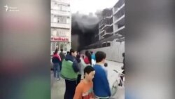 В микрорайоне Тунгуч загорелась строящаяся многоэтажка