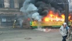 В Одесі загорівся трамвай з пасажирами (відео)