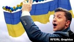 Колаж. Володимир Зеленський і прапор України, який летить в окупований Крим