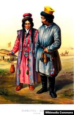 Калмыки в традиционной одежде. 1862 г