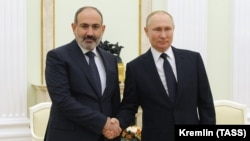 RUSSIA -- Armenian Prime Minister Nikol Pashinian and Russian President Vladimir Putin meet at the Kremlin in Moscow, April 7, 2021