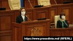 Мая Санду выступае на першым пленарным паседжаньні новага парлямэнту. 26 ліпеня 2021 году