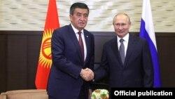 Сооронбай Жээнбеков и Владимир Путин. 28 сентября 2020 года.