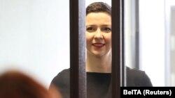 Belarusian opposition politician Maryaa Kalesnikava attends a court hearing in Minsk on August 4.