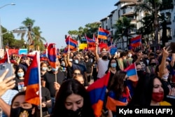 People marched in Los Angeles in support of Armenia and Nagorno-Karabakh on October 11.