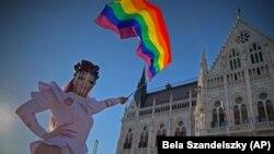 Снимка от демонстрациите на ЛГБТ общността в Будепеща срещу приетия от парламента закон