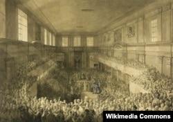 Ухвалення Конституції 3 травня у залі сенатора у Королівському замку у Варшаві, малюнок Жан-П'єра Норблена (1745–1830)
