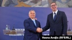 Kryeministri i Hungarisë, Viktor Orban dhe presidenti i Serbisë, Aleksandar Vuçiq. Beograd, 8 korrik 2021.