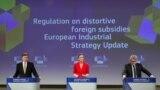 Potpredsednici Evropske komisije Margret Vestager i Valdis Dombrovskis, i komesar za unutrašnje tržište Tjeri Breton predstavljaju predlog strožih pravila za strane investicije, Brisel, 5. maj 2021.