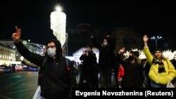 Сторонники критика Кремля Алексея Навального в центре Москвы, 2 февраля 2021 года.