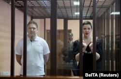 Maria Kolesnikova și Maksim Znak îîn sala de judecată, Minsk, 6 septembrie 2021