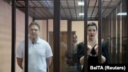 Maria Kolesnikova și Maksim Znak au fost acuzați de extremism și de tentativă de preluare ilegală a puterii. Minsk, 6 septmebrie 2021. Sursa: Ramil Nasibulin via REUTERS