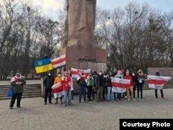 Беларустагы оппозицияга тилектештик чарасы. Львов шаары, Украина. 2021-жылдын 21-марты.