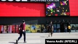 Tržni centar Ušće tokom prvog dana od otvaranja, 12. april 2021.
