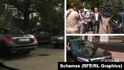 О 13:55 журналісти помітили, як Mercedes, яким користується Віктор Медведчук, уже стоїть на повороті дороги, яка веде до ресторану «Маячок»