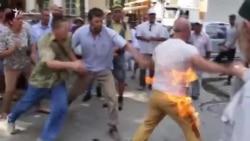 Акт самоспалення активіста «галявини протесту» в Криму (відео)