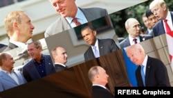 Коллаж из встреч Владимира Путина с пятью президентами США