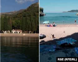 Kraljičina plaža (lijevo 2019, desno 28. juna 2021. godine)