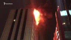 Пожар на проспекте Кадырова в Грозном
