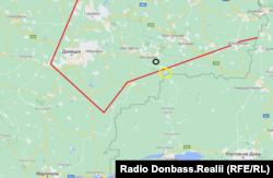Червона лінія – умовна лінія фронту на липень 2014 року. Жовтим виділений район біля російського кордону, про який ідеться у розмовах Дубинського і Пулатова. Чорним позначене ймовірне місце запуску ракети ЗРК «Бук» 17 липня 2014 року