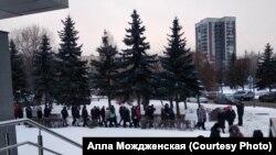 Акция протеста у здания мэрии Новокузнецка