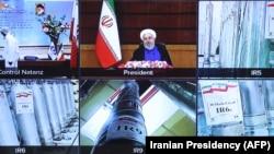 Fotografija sa video konferencije u kojoj su prikazane centrifuge i uređaji delivers nuklearnog postrojenja tokom govora predsednika Irana Hasana Rohanija, 10. april 2021.