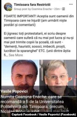 Postarea a fost distribuită și de unul dintre cei prezenți pe liste, diplomatul Vasile Popovici.