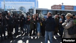 Opposition supporters protest in front of the Foreign Ministry in Yerevan on March 13.