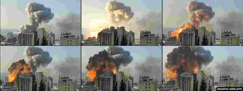 This combination of pictures created from UGC footage taken on August 4, 2020 and filmed from a highrise shows a fireball exploding while smoke is billowing at the port of the Lebanese capital Beirut. ​Two huge explosion rocked the Lebanese capital Beirut, wounding dozens of people, shaking buildings and sending huge plumes of smoke billowing into the sky.