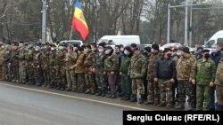 Veteranii războiului de pe Nistru, protestând la Chișinău, decembrie 2020