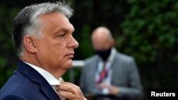 Premierul Ungariei, Viktor Orban summitul UE de la Bruxelles din 19 iulie 2020.