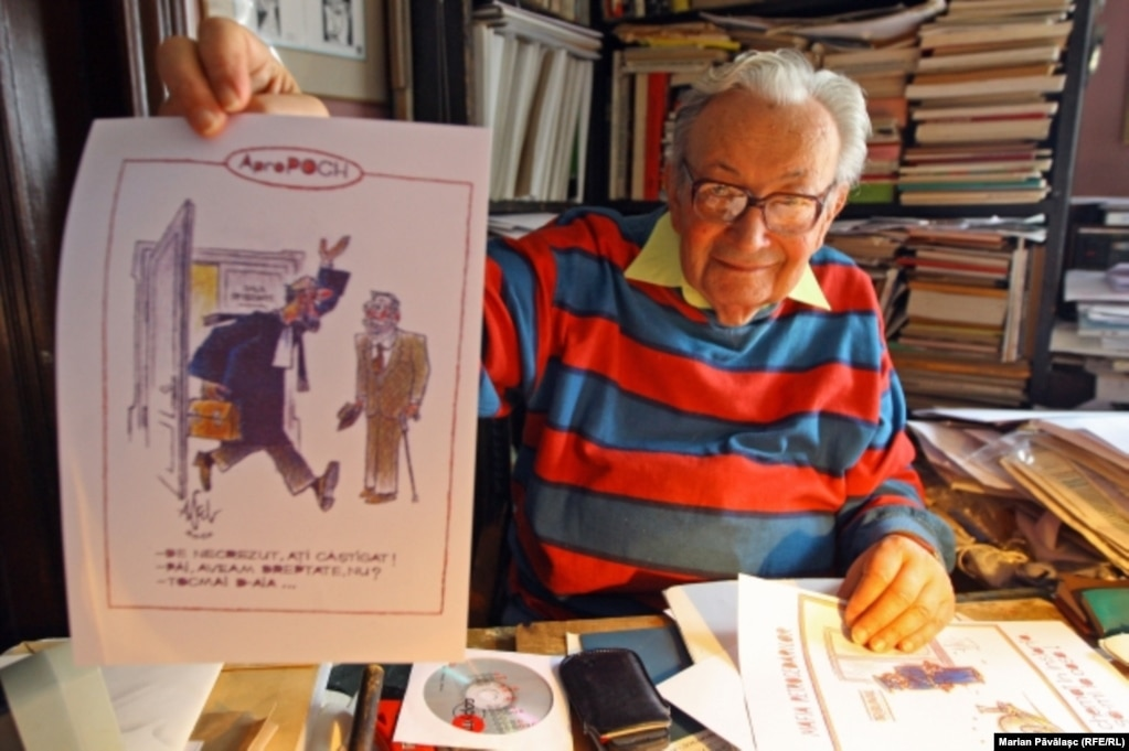 Caricaturistul Albert Poch în 2011.