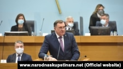 Milorad Dodik speaks at a special session of the National Assembly of the Republika Srpska in Banja Luka on March 10.