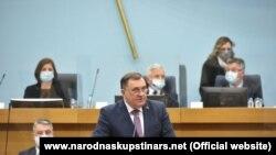 Претседател на Претседателството на Босна и Херцеговина, Милорад Додик на специјалната седница на Собранието на Република Српска, Бања Лука на 10 март 2021 година.