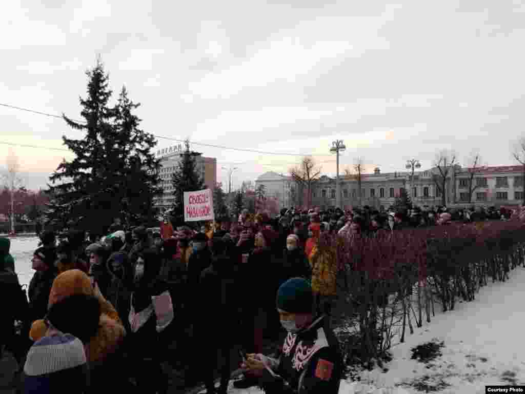 Protesters march in the Siberian city of Irkutsk.