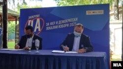 Премиеорот и лидер на СДСМ Зоран Заев и потпретседателот на ВМРО-ДПМНЕ, Владо Мисајловски потпишаа Кодекс за фер и демократски избори