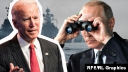 Джо Байден и Владимир Путин. Коллаж