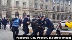Jandarmii au luat pe sus un portestatar care nu avea mască