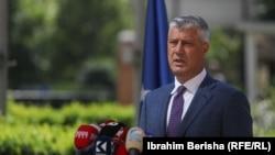 Presidenti Thaçi gjatë konferencës për media. Prishtinë, 7 shtator, 2020.