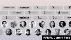 """Site-uri și jurnaliști, declarați """"indezirabili"""" sau """"agenți străini"""" în Rusia - o campanie care s-a accelerat cu apropierea alegerilor din septembrie pentru Duma de Stat (colaj/RFE/RL)"""
