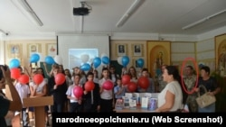 Арсен Шевкетов у школі Сімферополя №25, вересень 2017 року
