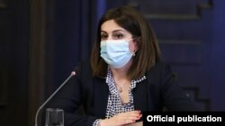 Armenia -- Health Minister Anahit Avanesian speaks during a cabinet meeting in Yerevan, March 4, 2021.