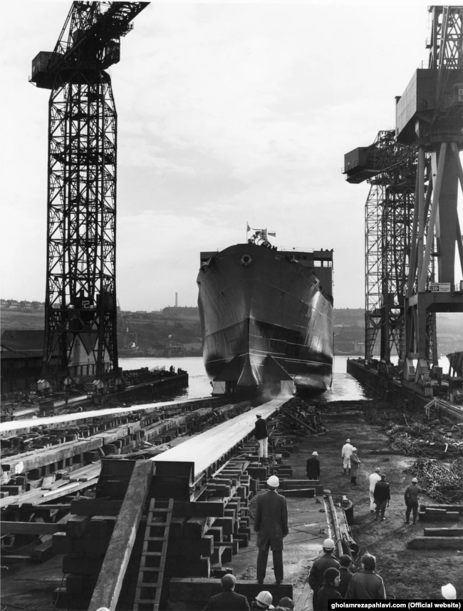 The Kharg is launched in Newcastle in 1977.