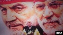 فالح الفیاض در مراسم یادیود کشته شدن قاسم سلیمانی و مهدی ابومهندس در ۱۷ دی ماه در تهران