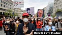 Police estimated that some 10,000 people protested in Prague's central Wenceslas Square.