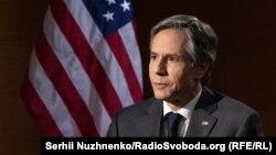 U.S. Secretary of State Antony Blinken was speaking to RFE/RL's Ukrainan Service in Kyiv on May 6.