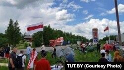 Палаточный лагерь, разбитый активистами на литовско-белорусской границе