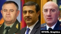 The presidential office says it has received suggestions from the prime minister to dismiss the chief of the general staff of the armed forces, Artak Davtian (left), the director of the National Security Service, Eduard Martirosian (center), and police chief Arman Sargsian.