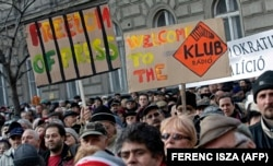 Thousands of Hungarians protest against Prime Minister Viktor Orban, and in support of opposition radio station Klubradio, in the center of Budapest on January 22, 2012