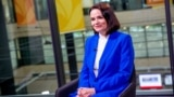 """""""This is a struggle against the regime; this is not about geopolitics,"""" Belarusian opposition leader Svyatlana Tsikhanouskaya told RFE/RL during a visit to its Prague headquarters on June 8."""